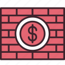 bricks, business, financial, money, security, stability, wall icon