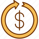 business, currency, finance, investment, money, refund, return icon
