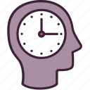 business, clock, head, management, punctuality, schedule, time icon