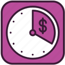business, clock, finance, investment, money, profit, time icon
