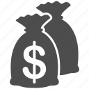 bank, earnings, funds, invest, investment, money bags, venture capital icon