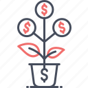 business, dollar, leaf, money, plant, pot, tree icon
