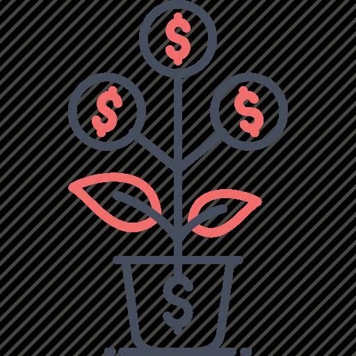dollar, leaf, money, plant, tree icon