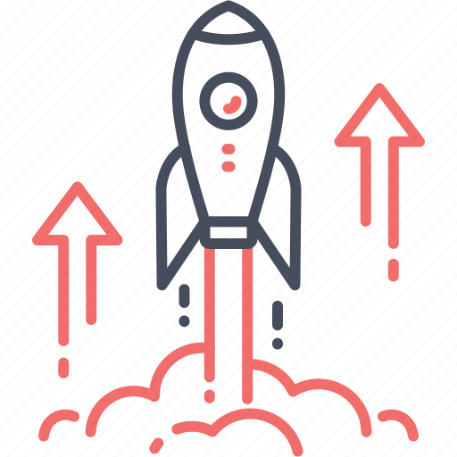 arrow, boost, business, launch, rocket, startup icon