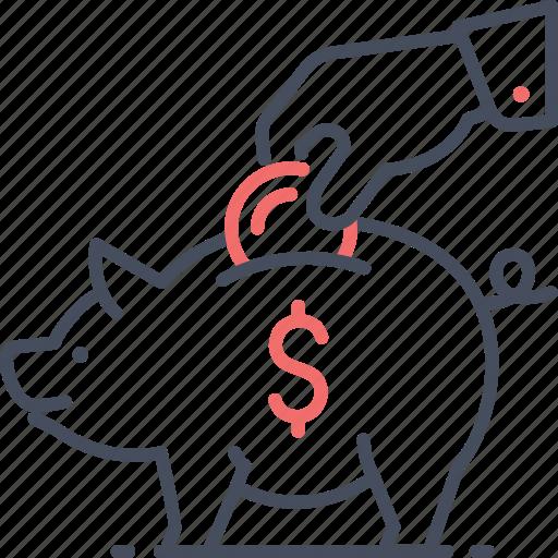 dollar, money, piggy, save, saving icon