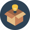 box, bulb, idea, outside, product, safe, think icon