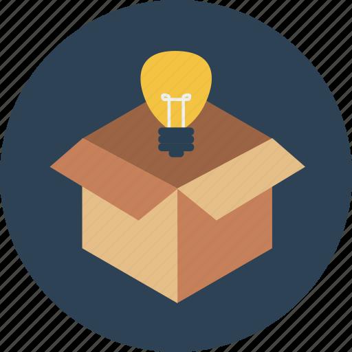 box, bulb, idea, outside, product, safe, think icon
