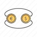 business, coins, dollar, euro, exchange, finance, money icon