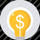 bulb, earning, idea, ideas, innovative, light, money icon