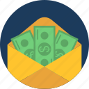 cash, dollar, envelope, moneyorder, salary message, savings, wallet icon