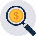 areas, idea, ideas, magnifier, money, revenue, search icon