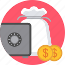 bank, cash, locker, money, safe, secure, security icon