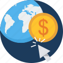 charges, click, earning, earnings, global, seo, web icon
