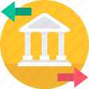 bank, building, exchange, financial, institution, transfer, transferation icon