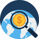 bank, banking, cash, finance, global, money, search icon
