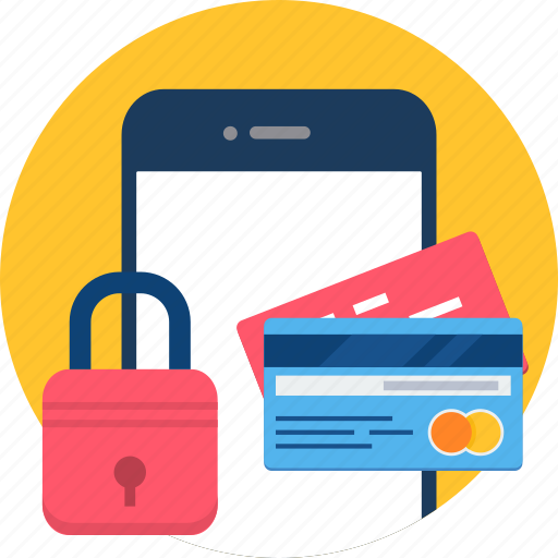 card, cvv, mobile, password, protection, security, smartphone icon