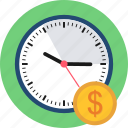 alarm, clock, dollar, money, salary, time, wall icon