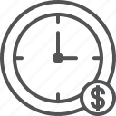 clock, finance, money, payment, time icon