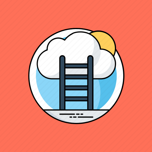 career development, career growth, career success, growth and advancement, ladder to cloud icon
