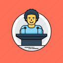 conference, political leader, public speaker, seminar, speech icon