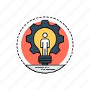 creative process, creativity, idea development, idea generation, transforming idea icon