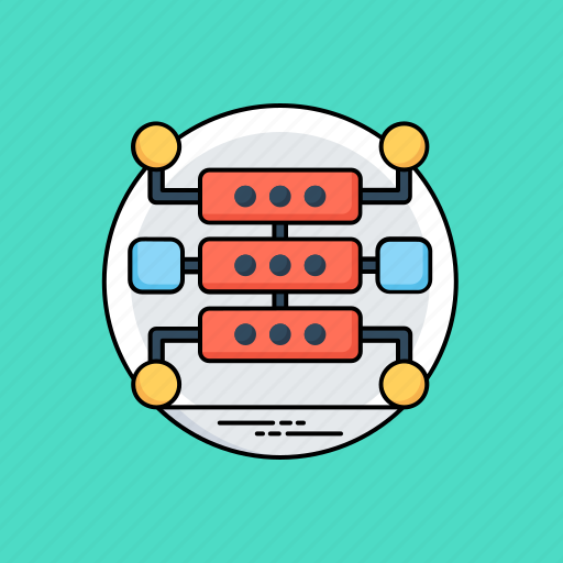 data structure, database, networking, server hosting, shared server icon