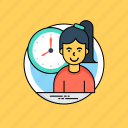 job timing, office hours, punctual, time to work, timetable, working hours icon