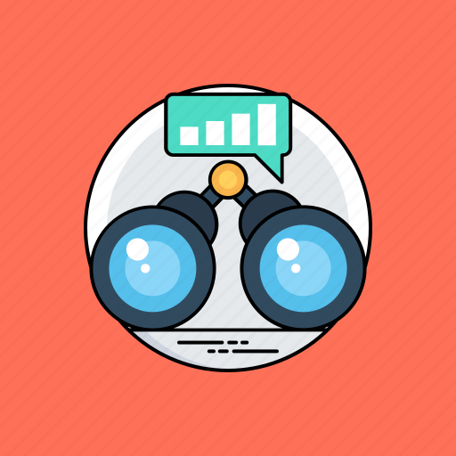 business observation, business vision, long term vision, marketing analysis, marketing survey icon