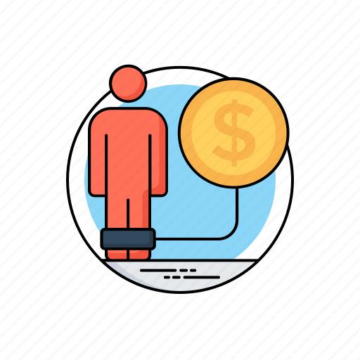 bankrupt, debt problems, liabilities, loan problems, money crisis icon