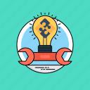 creative process, develop idea, development solutions, generate idea, idea transformation icon