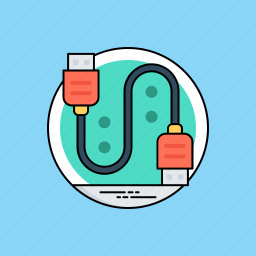 data cable, plug in, usb cable, usb connector, usb wire icon
