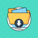 archives, backup, data downloading, data transformation, folder download icon