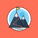 achievement, end goal, goal achieved, mission, mountains icon