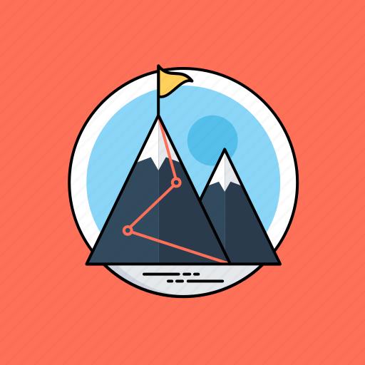 achievement, end goal, goal achieved, mission, mountains icon