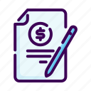 bill, business, invoice, receipt, salary icon