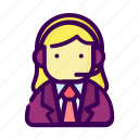 business, customer service, job, operator, reporters icon