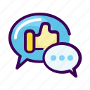 business, chat, conversation, like, testimonial icon