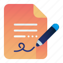 approval, document, pen, sign, signature icon