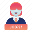 employment, female, job, look, search, woman icon