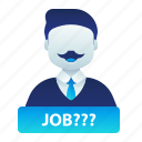 employment, job, look, male, man, search icon
