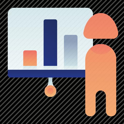 business, chart, female, presentation, woman icon