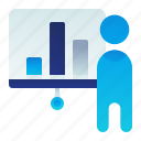 business, chart, male, man, presentation icon