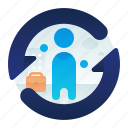 employee, employment, male, man, renewal icon