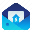 letter, mail, message, rise, salary icon
