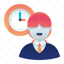 clock, employee, female, time, woman, work icon
