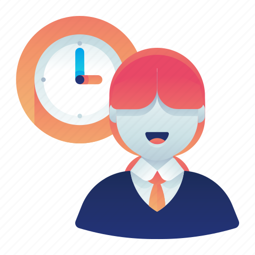 clock, employee, female, time, woman, work icon