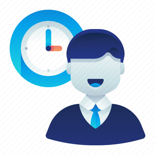 Clock, employee, male, man, time, work icon - Download on Iconfinder