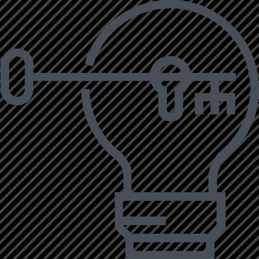 help, idea, key, lamp, light bulb, problem solving, unlock icon