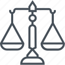 balance, judge, jury, law, legal, scales of justice, trial icon