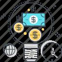 business plan, dolar, idea, lamp, money making, start up icon